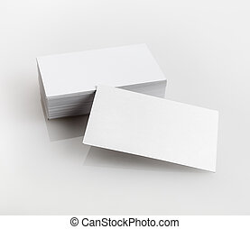 Blank business cards on a light gray background. Template...