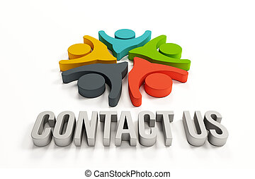 Contact us group people logo - Contact us group of happy...