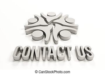 Contact us group of people logo - Contact us group of happy...