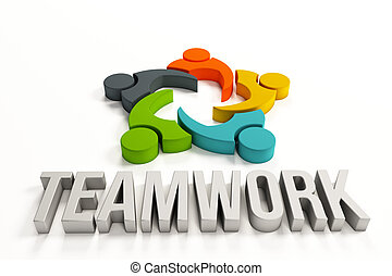 Teamwork Logo with group of people - Teamwork word with...