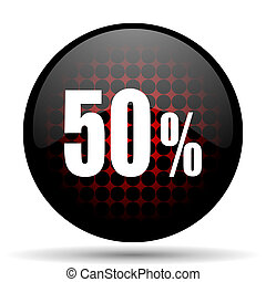 50 percent red glossy web icon