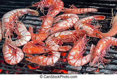 grilled or barbecued big shrimps