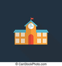 School Building Flat Icon with Long Shadow, Vector Illustration