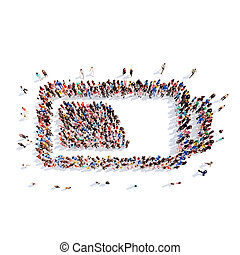 people in the shape of battery charge - A large group of...