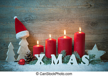 Background with candles and snowflakes for Christmas -...