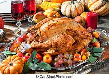 Thanksgiving turkey - Thanksgiving dinner Roasted turkey on...