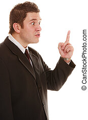 Furious teacher or business man shaking finger - Angry mad...