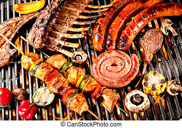 Barbecue - Assorted delicious grilled meat with vegetable...