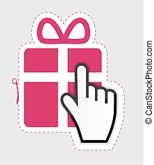 Mouse hand cursor on gift sticker label  vector illustration