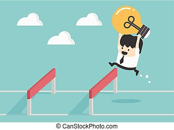 Businessman Jumping Over Hurdle - Businessman Jumping Over...
