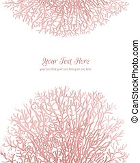 Coral motif card - Coral silhouettes on the white background...