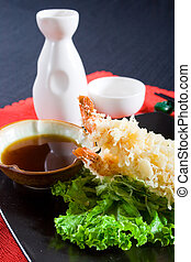 japanese food consisting of sushi tempura