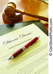 Divorce Decree document with gavel and a pen