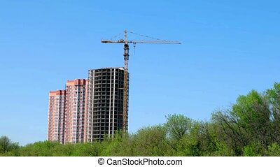 Derrick crane is used in the construction of tall buildings...