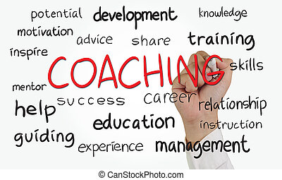 Coaching - Business concept image of a hand holding marker...