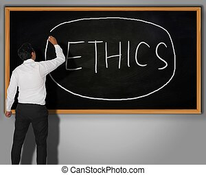 Ethics Concept - Businessman writing Ethics word with chalk...