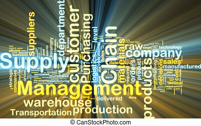 Supply chain management wordcloud glowing - Word cloud tags...