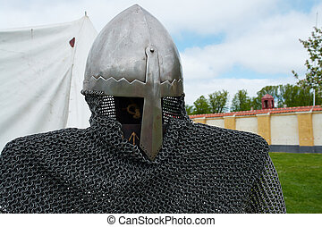 Medieval middle ages knight armour in close up detailed view...