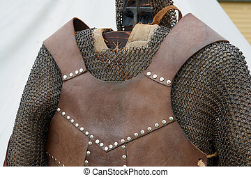 Medieval middle ages knight armour in close up detailed view