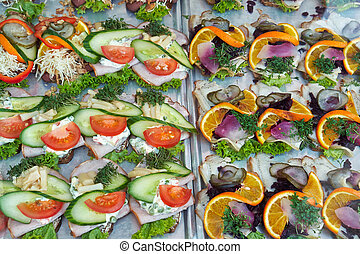 Smoerrebroed Danish open faced sandwiches - Selection of...