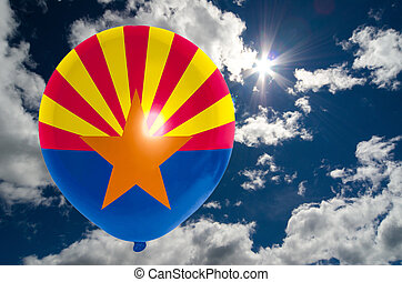balloon with flag of arizona on sky - balloon in colors of...