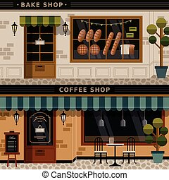 coffee shop and bakery facades - retro flat design of coffee...