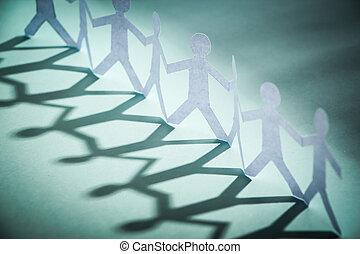 grupo, de, gente, tenencia, Manos,