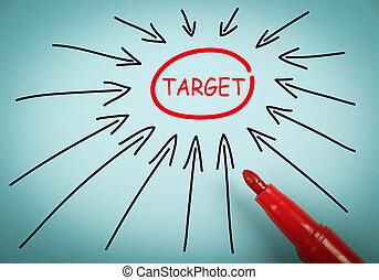 Target concept is on blue paper with a red marker aside