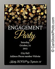 Engagement party invitation card - Vector illustration of...