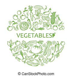black icon vegetables vector set - circle of icons...