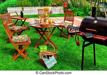 Backyard Summer BBQ & Cocktail Party Scene - Backyard Summer...