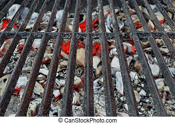 BBQ Grill And Glowing Coals Close-up Background Texture