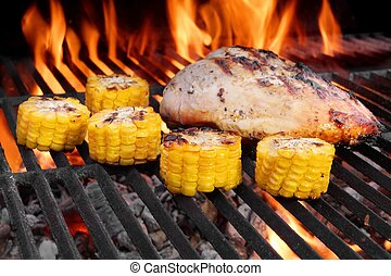 BBQ Roast Chicken Breast On The Hot Grill With Vegetables -...