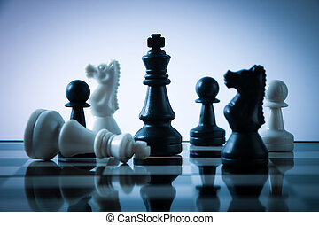 Chess game - Chess pieces on board with gradually varied...