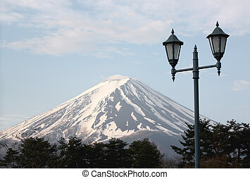 Mount Fuji and green lantern park - Mount Fuji and green...
