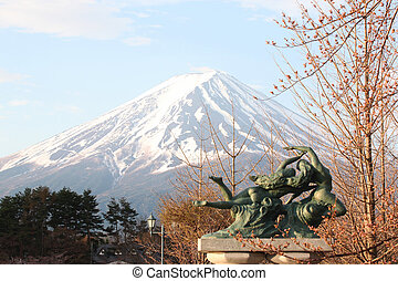 Mount Fuji and sculpture - Mount Fuji and sculpture in the...