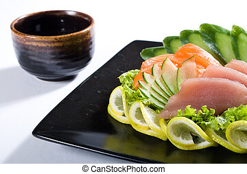 japanese meal - a healthy meal of japanese sashimi and...