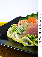 japanese food of raw salmon and tuna with vegetables
