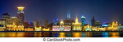 The Bund panorama at night, Shanghai, China
