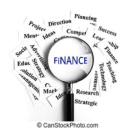 Finance concept - Finance magnifying glass with some...