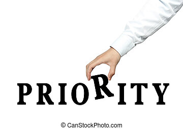 Priority - Businessman is holding the text of Priority...