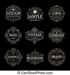 Set of vintage luxury logo templates with flourishes elegant...