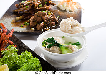 chinese food - a meal of chinese soup and food