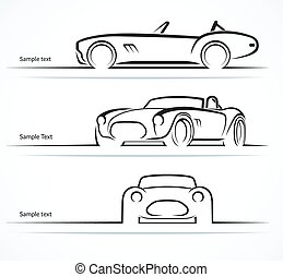 Set of vintage classic sports car silhouettes