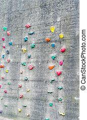 Climbing wall - Detail climbing wall at an amusement park.