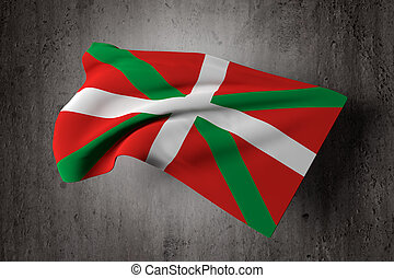 Basque flag - 3d rendering of an old and dirty Basque...