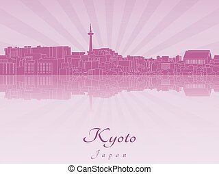 Kyoto skyline in purple radiant orchid in editable vector...