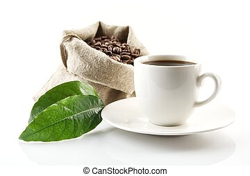 Sack full of coffee beans with green leaf and coffee cup -...
