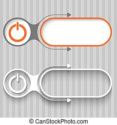 Two abstract frames with arrows and power button