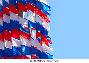Russian flag - pennant in the colors of the Russian flag and...